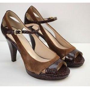 Franco Sarto Brown Suede High Heel Shoes